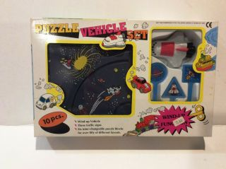 Vintage Plas - Toy Wind Up Puzzle Vehicle Space Shuttle Set 9281s 1992