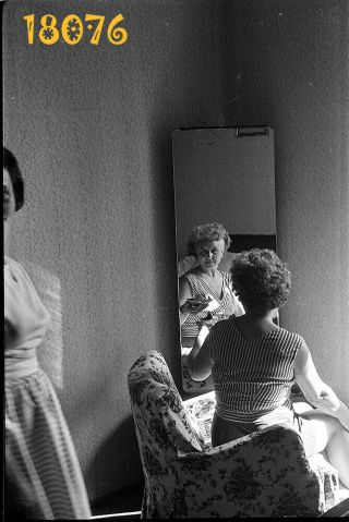 Elegant Woman In Armchair,  Mirror Reflection,  1950's Vintage Negative Hungary