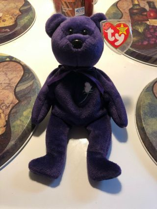 Ty Beanie Baby Princess The (diana) Bear From 1997 Rare & Retired
