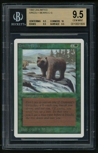1x Bgs 9.  5 Unlimited Grizzly Bears Mtg Unlimited - Kid Icarus -