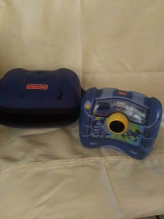 Fisher Price Digital 4x Zoom Photo/video Camera Blue Kid Tough With Case