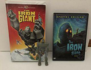 Rare Iron Giant Action Figure,  1999 Vhs And 2004 Dvd