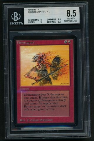 1x Bgs 8.  5 Beta Disintegrate Mtg Beta - Kid Icarus -