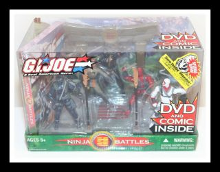 ❤️new G.  I.  Gi Joe Ninja Battles Dvd Comic 5 Figure Set Hasbro 2004 Nib❤️