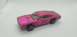 1969 Hot Wheels Red Line Hot Pink Dodge Custom Charger White Interior