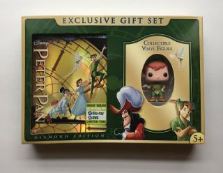 Peter Pan Diamond Edition Blu - Ray Dvd Excl Gift Set Collectible Peter Pan Figure