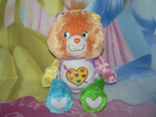 "Htf 13 "" Fluffy Floppy Work Of Heart Pastel Paint Care Bear Baby Boy Girl Toy"