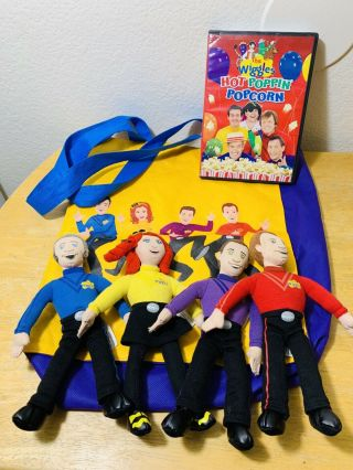 The Wiggles 4 Plush Set Anthony Emma Lachy Simon Hot Poppin Popcorn Dvd Tote Bag