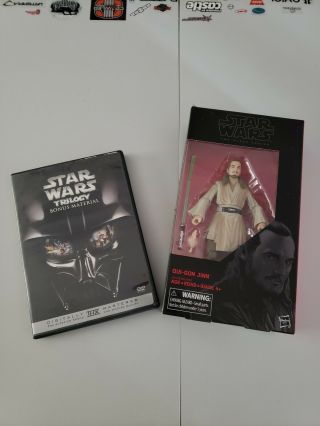 Star Wars The Black Series 6 Inch Qui Gon Jinn 40 The Phantom Menace.  Bonus Dvd