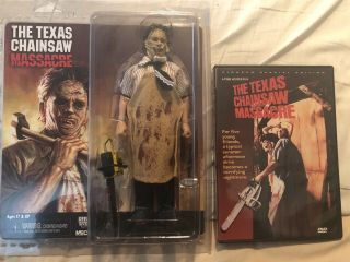 """Neca Texas Chainsaw Massacre Leatherface 8 """" Cloth Figure With Dvd"""