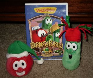 Veggie Tales Bob And Larry Christmas Plush Beanies And Heroes Of The Bible Dvd