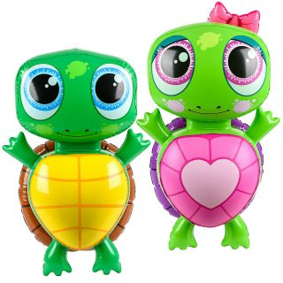 """(set Of 2) 24 """" Girl Boy Turtle Inflatable - Inflate Blow Up Toy Party Decoration"""
