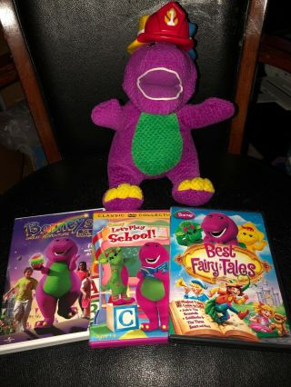 Silly Hats Barney & Friends Fisher Price Mattel 2001 With 3 Dvd's