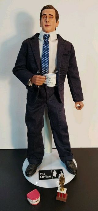 """Custom 1/6 Steve Carell As Micheal Scott From The Office 12 """" Figure With Base"""