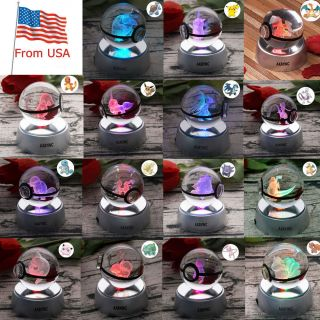 Pikachu Pokemon Go Pokeball Elf Crystal 3d Led Night Light Table Lamp Xmas Gift