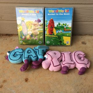 Word World Plush Magnetic Stuffed Toy Pig Cat Pull Apart Build Words & 2 Dvd