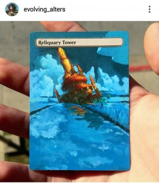 Reliquary Tower Mtg Magic The Gathering Hand Painted Altered Extended Full Art