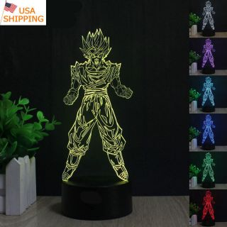 3d Dragon Ball Z Son Goku Led Night Light Touch Table Desk Lamp Xams Gift 7color