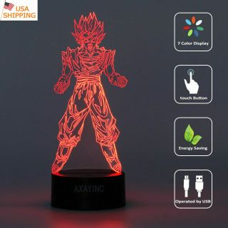 Dragon Ball Z Son Goku 3d Led Night Light Touch Table Desk Lamp Xams Gift Rgb Us