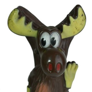 """Large Vintage 11.  5 """" Bullwinkle Bank From 1970s With Bottom Plug"""