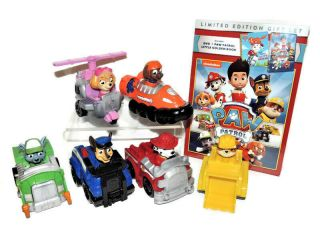 Paw Patrol Racer Set Of 6 Figures In Vehicles Plus Dvd With Little Golden Book