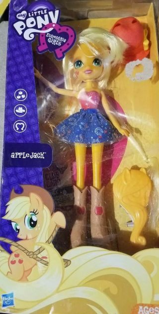 Mlp My Little Pony Equestria Girls Doll Applejack W/ Club Card & Dvd