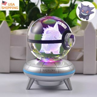 Night Light 3d Crystal Pokemon Gengar Led Table Lamp Crafts Best Gift Pokeball