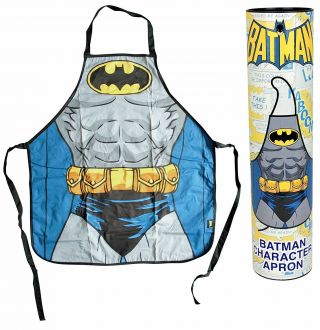 Official Dc Comics Batman Torso Suit Retro Apron Kitchen Chef Bbq In Gift Tube