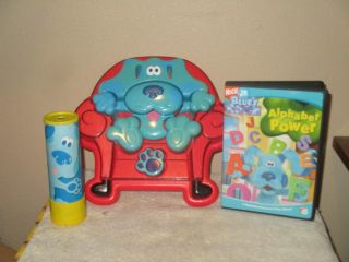 1998 Blues Clues Chunky 3d Puzzle Blue In Big Red Chair,  Dvd & Kaleidoscope,