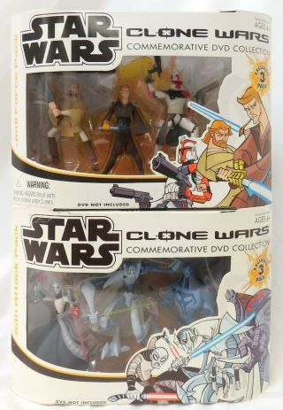 2005 Star Wars Clone Wars Commemorative Dvd Figure Set Sith Attack Jedi Force