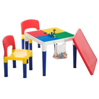 2in1 Kids/children 3y,  Play Table Set Building Block Base & 100pc W/2 Chairs Toy