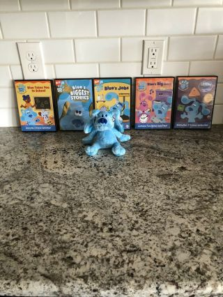 5 Blues Clues Dvds And A Small Blue Clues Stuffed Animal
