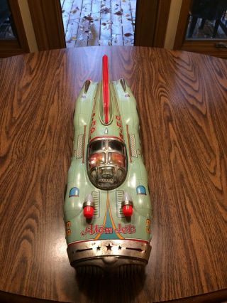 "1958 Yonezawa Large 28"" No 58 Atom Jet Toy Racer Tin Friction Space Race Car"