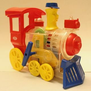 1974 Ideal Think & Learn Toot - Loo - Locomotive Wind Up Whistling Toy Train