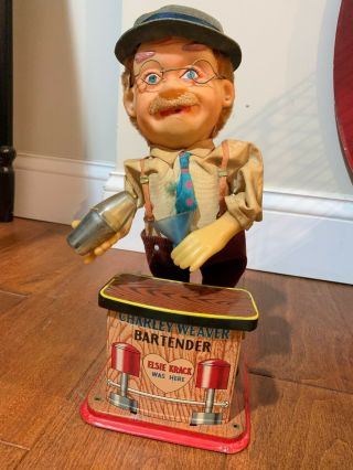 Battery Operated Charley Weaver Bartender,  1962 Japan.  No Box