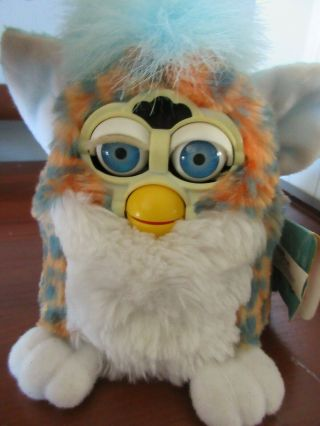 Furby Babies 1999 70 - 940 Blue/gray Spots Orange And White 1999 Blue Eyes W/tags