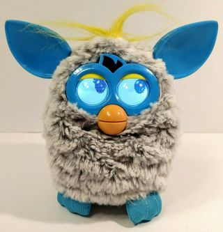 2012 Hasbro Furby With Lcd Eyes Gray With Blue Ears Yellow Hair And Tail Fur