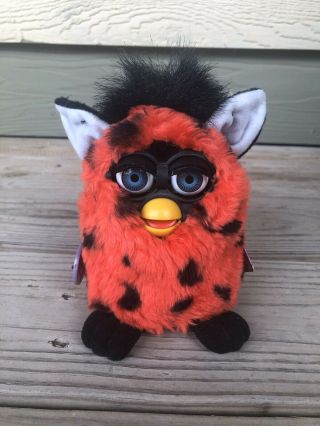 "Vintage Furby Red W/ Black Spots And Blue Eyes 1999 (""ladybug"") 70 - 800"