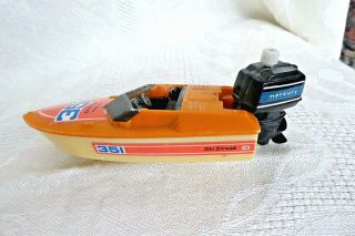 Vintage Mercury Speed Boat 1978 Wind Up Plastic Boat W Motor Tomy,
