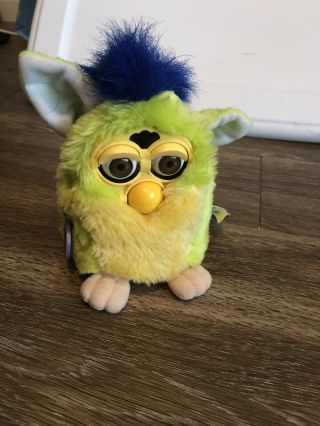 Lime Green And Blue Furby With Brown Eyes