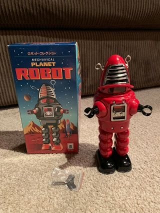 Mechanical Planet Robot Red Schylling Lost In Space Wind Up Key Tin Metal Retro