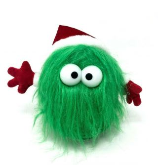 Gemmy Animated Christmas Fuzzy Green Monster Plush Hum Dance Spin Deck The Halls