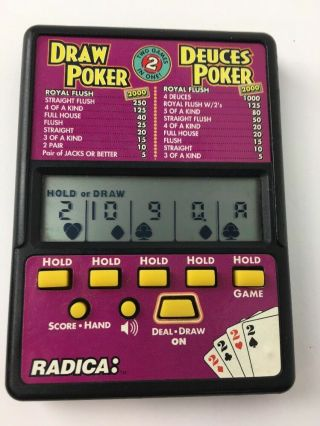 Radica Draw Poker & Deuces Poker Hand Held Lcd Electronic Game No.  514