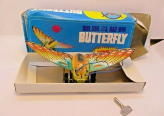 Butterfly Wind - Up Tin Toy Turns Over Tin Toy Wind Up Butterfly Moth