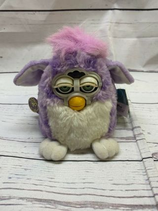 Tiger 1999 70 - 940 Furby Babies Purple & White Blue Eyes English Speaker