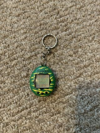 Vintage 1997 Bandai Tamagotchi Green/yellow Tiger Stripes Electronic Toy