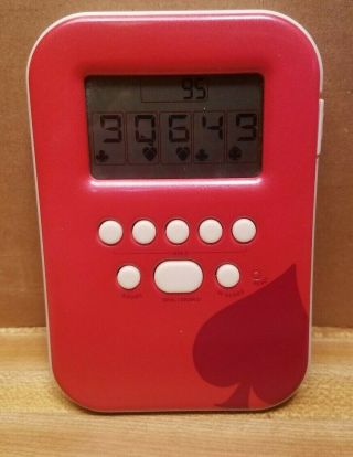 Radica Lighted Poker Red Handheld Gaming Device Good Pre Owned