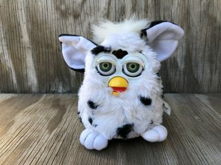 Tiger Furby Babies Collectible Toys 1999 White Black Dots Fur Battery Operated