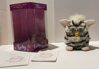 Furby 70 - 800 Series 1 Electronic Toy - Zebra W/ Box,  Instructions,  1998