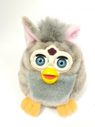 Vtg 1999 Furby Buddies Beanie Plush Tiger Electronics 70 - 700 Grey Pink